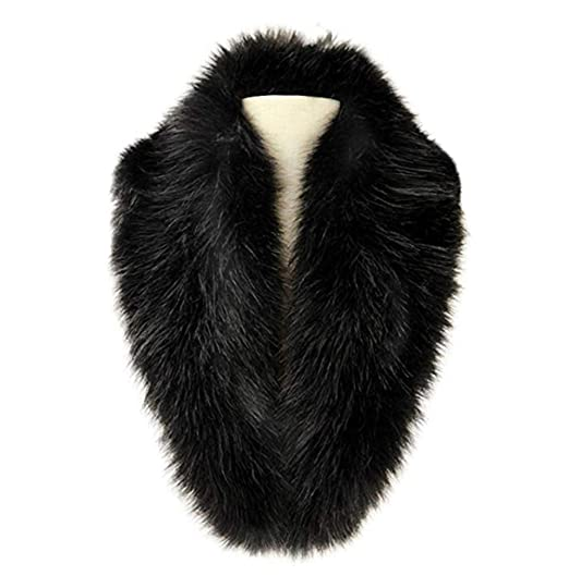 REAL Black Genuine Big Raccoon Fur Collar Scarf Wrap Shawl Winter Neck Warmer