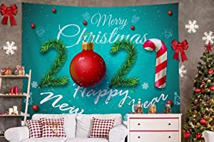 Christmas Wall Hanging Tapestry Decor-(2020 NEW) Bedroom Dorm Living Room Xmas Backdrop Photography Wall Decor Gift Idea Blue Background 2021 Happy New Year Spruce Walking Stick Big Large Small S