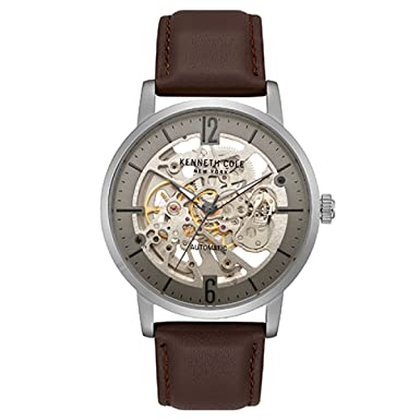 Kenneth Cole New York Men s Automatic Stainless Steel and Leather Casual Watch Stainless Steel Case Leather Strap Stainless Steel Bracelet Casual Watch, Model KC50054001 03 05 06