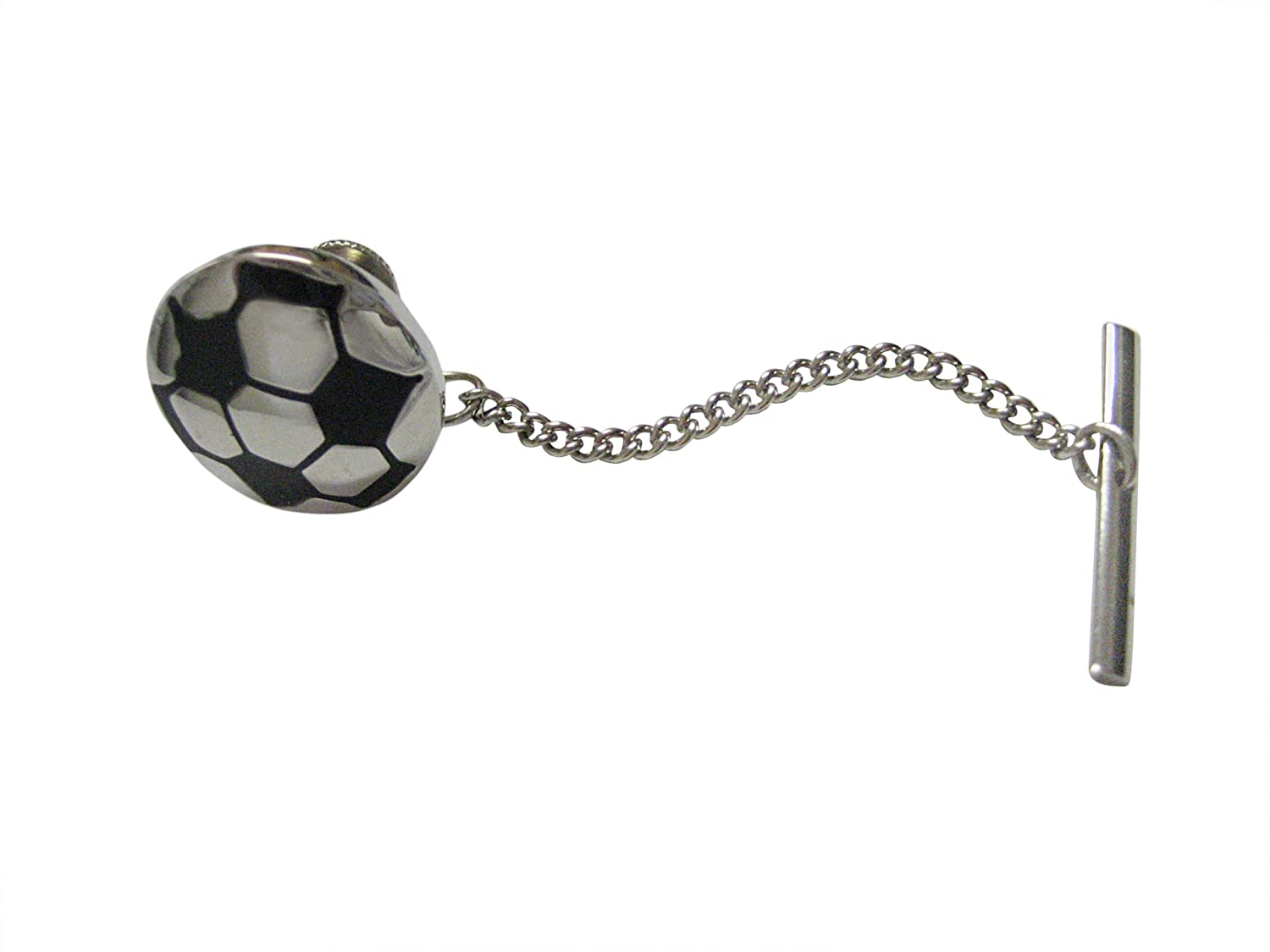 Silver and Black Soccer Ball Tie Tack