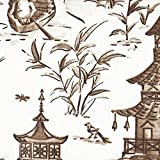 Pagodas Cafe Brown Oriental Toile King Duvet Cover with Pagodas Café Reverse