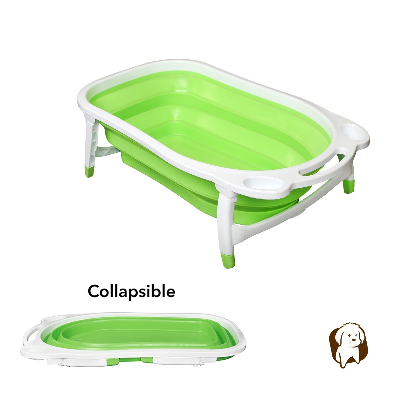 Green BaileyBear Porta Tubby Collapsible Portable Foldable Dog Cat Bath Tub, Expandable Grooming Washing Accessory For Small Medium Pets, 31.5 x17.3 x8.7