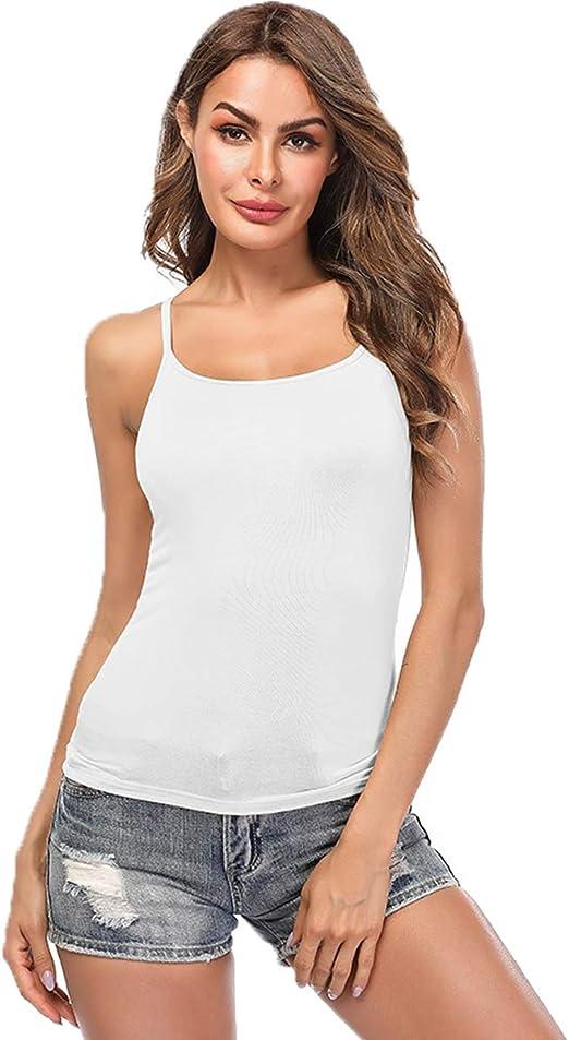Ladies Cami Camisole Yoga Tank Top Shelf Bra Women Strappy Vest Padded Bra Gym