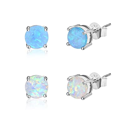 0d9166ebf Zealmer 14K White Gold Filled 6mm Round White Blue Opal Stud Earrings for  Girls Women Pack