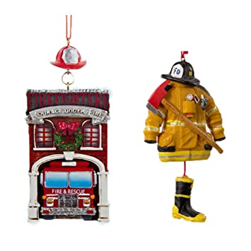 Amazon.com: NEW! ☆ Bundle Pack BONUS Kurt Adler ☆ Fire House with ...