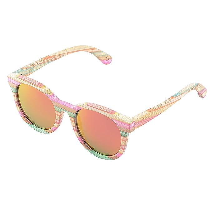 BEWELL Madera Gafas, G005A Gafas de Sol Madera Mujer Polarizadas con Bamboo Con Montura (