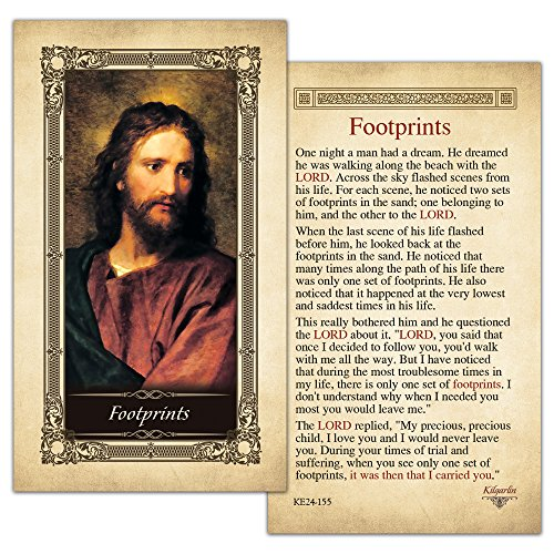 Footprints Laminated Holy Card - Pack of (Catholic Prayer Card)