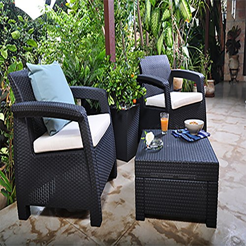 Keter Corfu Outdoor Rattan Balcony Garden Furniture Set, 2 Seater - Graphite with Mushroom Cushions