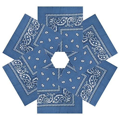 Alotpower Party Bandanas Headbands Cowboy Bandana for Home Decoration,6 Pack Denim Blue