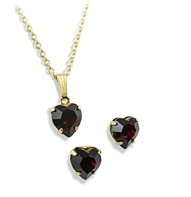 a59562986 Red Crystal Heart Pendant & Earring Set - Gold Finish - Valentines Day  Present - Wedding Jewellery - Bridesmaids Gifts: LJ Designs and Oaks  Jewellery: ...