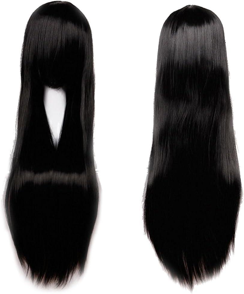 Parrucca Donna Nera Lunga con Frangia 60cm Capelli Neri Lisci Full Wig per Cosplay Halloween Costume Carnevale Party Nero Scuro