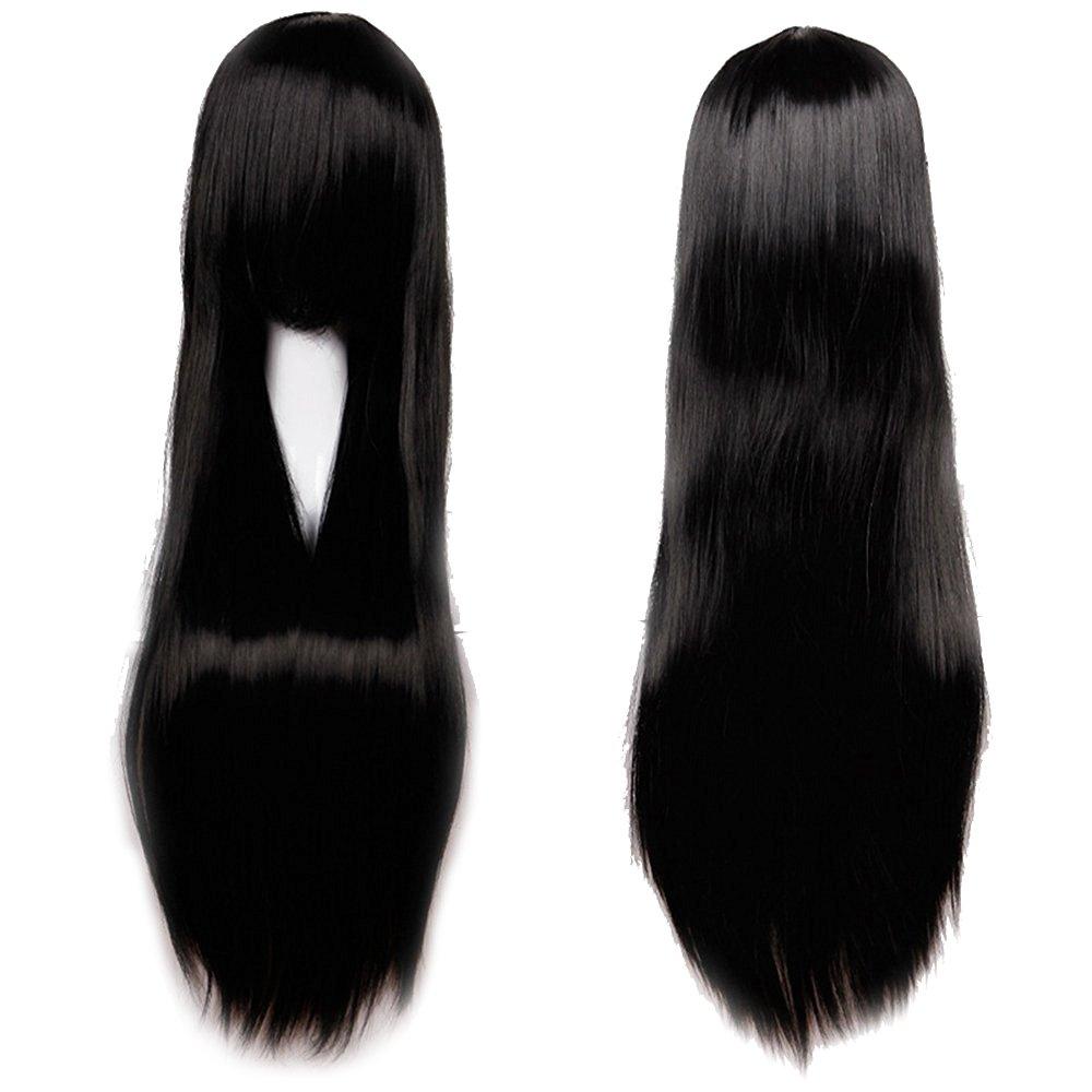 100cm Parrucca Nera Da Donna Capelli Lunghi Lisci Straight Per Carnevale Travestimento Cosplay Alta Qualità Resistente al Calore Elailite