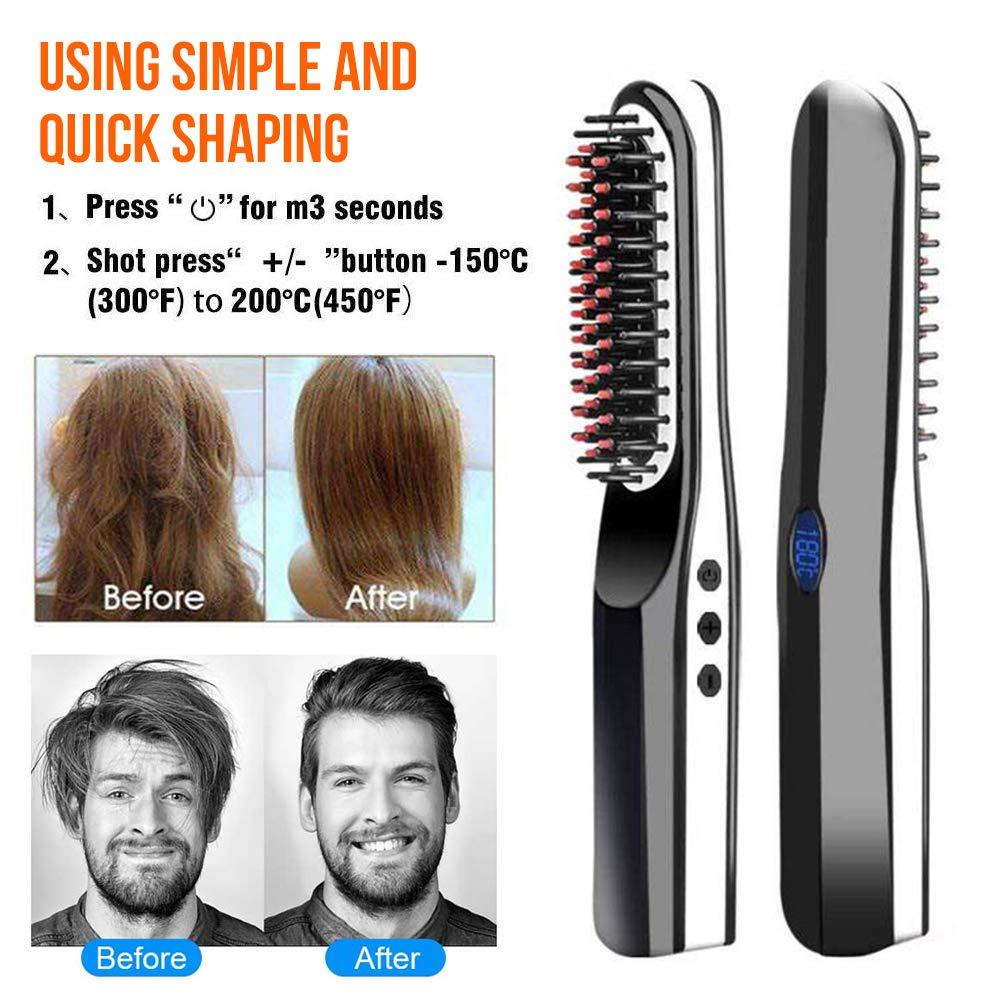 Cepillo alisador de barba, inalámbrico, recargable por USB ...