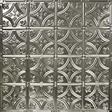 6'' Repeating Victorian Fleur-de-lis Pattern Tin Panel (Brushed Satin Nickel)