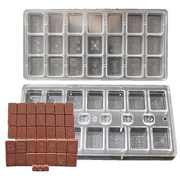 (2pcs/set) Creative Retangle Forma chino Mahjong diseños Chocolate molde policarbonato cubo de hielo DIY Candy molde para tarta Herramientas: Amazon.es: ...