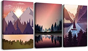 Canvas Prints Artwork Wall Art for Bedroom Bathroom Wall Decor Abstract Aurora Scenery Painting Photo Watercolor Painting 3 Pieces Home Decoration for Living Room Office Inspiration Mural Works