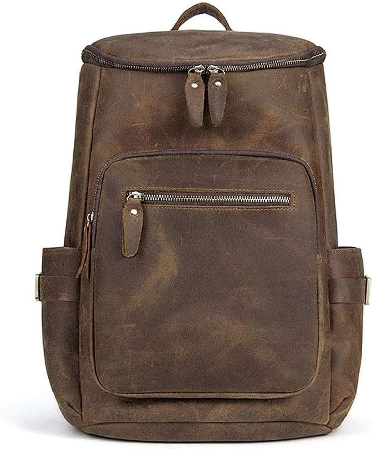 オートバイのバッグ - 新しい男性のバッグ、ヨーロッパやアメリカのファッションバックパック、レトロ狂った馬革の男性のバケットバックパック、大容量アウトドア旅行バッグ-29 * 14 * 41センチメートル あなたが持っているに値する