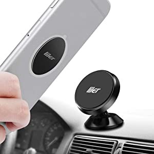 LILER Magnetic Car Mount, Mini Universal Cell Phone Holder for The Car 360 Rotation Dashboard Phone Holder Compatible iPhone X 8/7/ 6/5, Samsung Galaxy Note 9 / S9 / S9 Plus / S8 / S7
