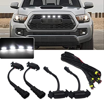 Miniclue 4pcs Smoked Lens White LED Front Grille Lighting Kit Compatible with 2016 2020 2020 2020 Toyota Tacoma w/TRD Pro Grill: Automotive