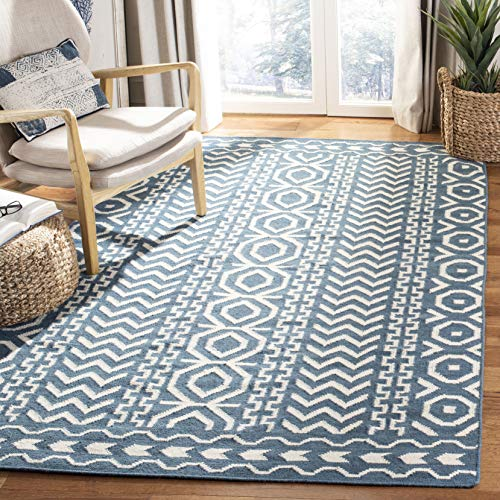 Safavieh Dhurries Collection DHU572A Hand Woven Dark Blue and Ivory Premium Wool Area Rug (5' x 8')
