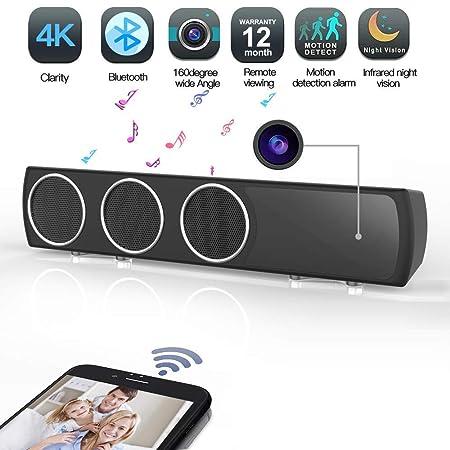 Transwe Hidden Camera Speaker Wireless HiFi – IR Night Vision Spy Camera Bass Enhanced Speaker 4K HD Surveillance Camcorder with Motion Detection Stereo Hi-Fi Nanny Cam for Home Security Black