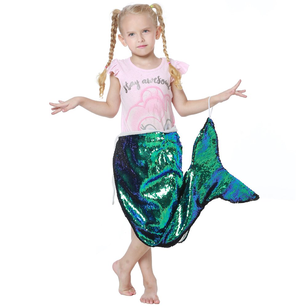DrCosy Mermaid Tail Blanket for Girls Flip Sequin Gliter Mermaid Fishtail Blankets Living Room Bedroom Sofa Sleeping Bags (93*60cm) URinfinite