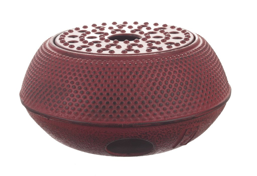 M.V. Trading T-7048 Large Cast Iron Tetsubin Teapot Warmer Arr, Red
