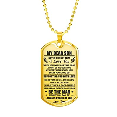 0cfe8e34f77e ThisYear Son Dog Tag Necklace Dog Tag Chain from Dad - Always Proud ...