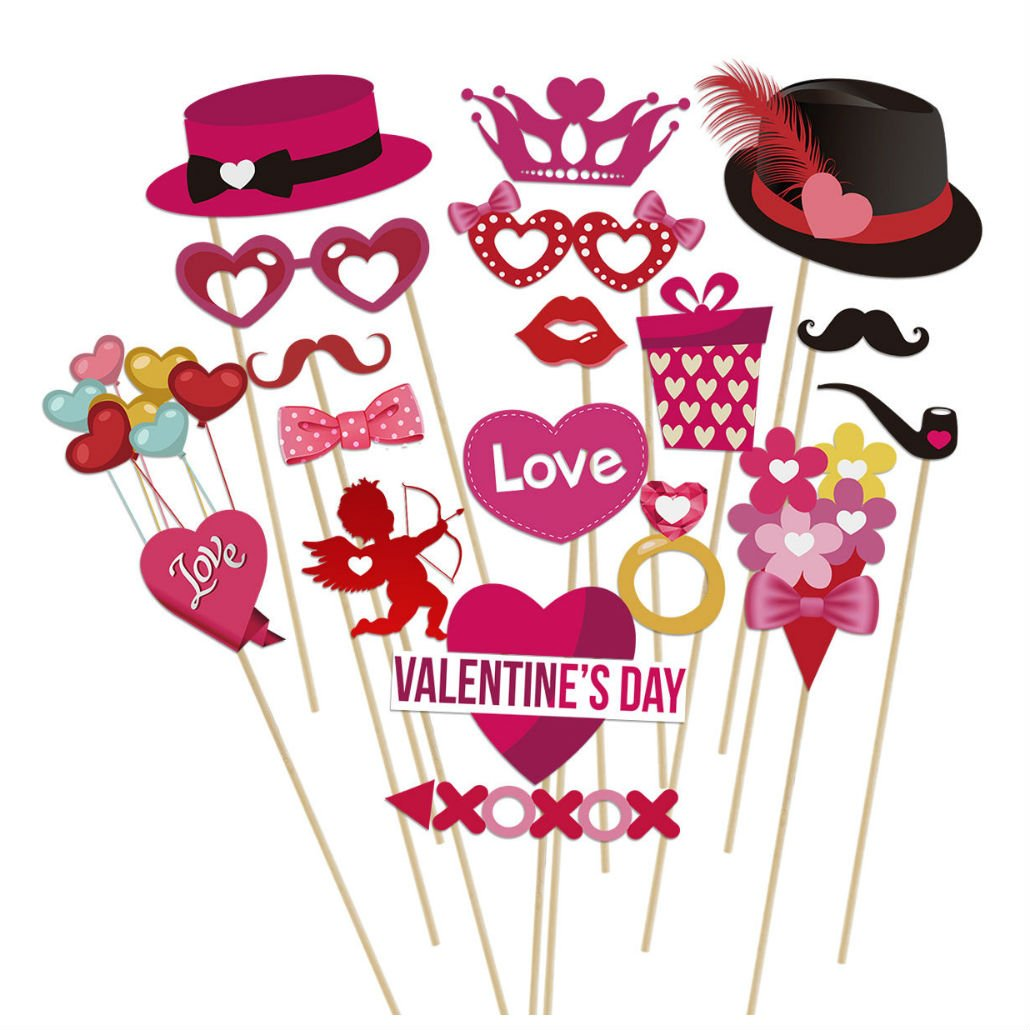 40pcs Valentine's Day Photo Booth Props DIY Kit for Valentine's Decor Wedding