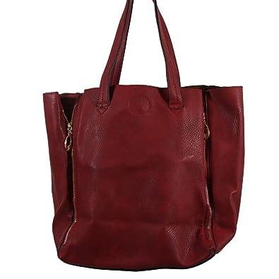 4038e578cd Shopping-et-Mode - Sac à main rouge bordeaux simili-cuir avec fermetures