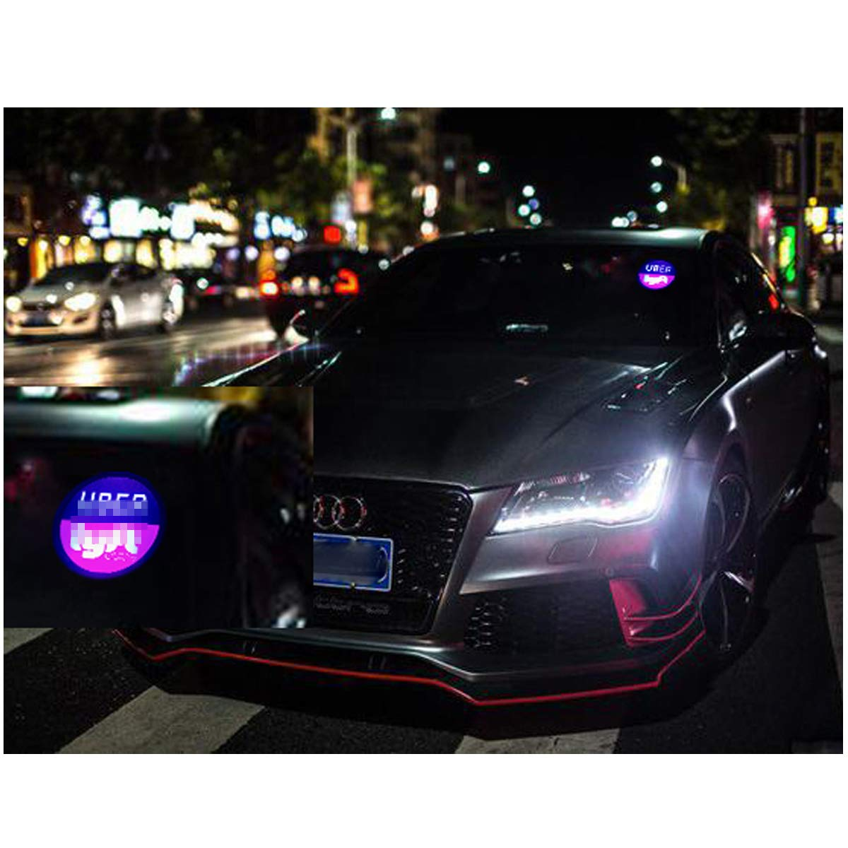 Rideshare Sign Wireless Decal Accessories Removable Rideshare Glowing for Car LED Light Logo Sticker Decal Glow Rideshare Light Up Sign Dry Battery Powered
