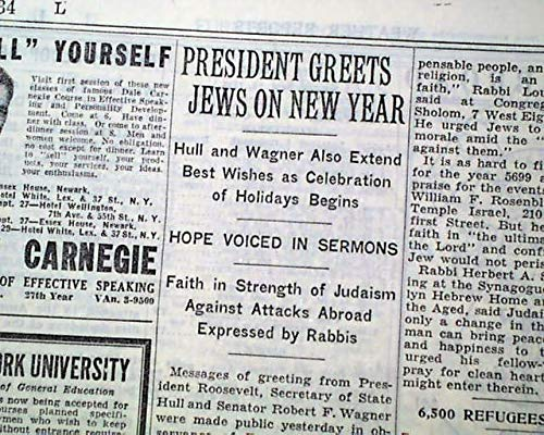 ROSH HASHANAH Jewish New Year Begins w/FDR Greeting Jews Judaica 1938 Newspaper THE NEW YORK TIMES, Sept. 26, 1938