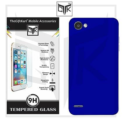 on sale 2ac32 28443 TheGiftKart Matte Polycarbonate Velvet Feel Hard Back Cover (Metallic Blue)  + HD Tempered Glass for LG Q6, Q6 Plus