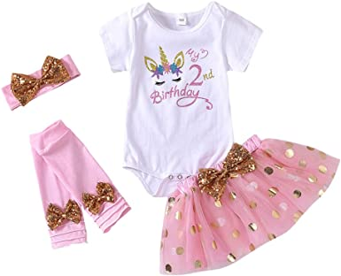 HOSUKKO Baby Girl Half//1st//2nd Birthday Outfit,Onesie+Tutu+Tight+Crown+Headband