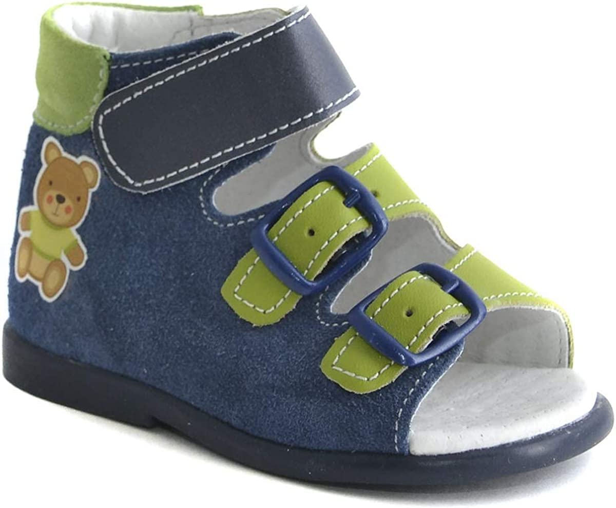 High Sole Orthopedic Sandals First Step for Boys and Girls 4, Dark Blue Genuine Leather