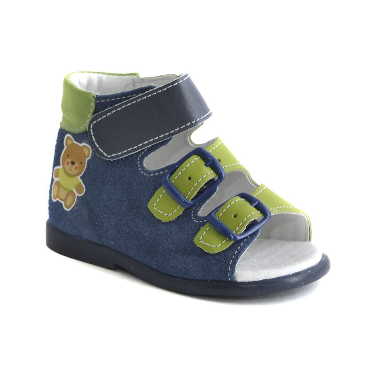 Orthopedic Sandals First Step for Boys and Girls - Genuine Leather - High Sole (5, Dark Blue) by Skorohod