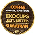 EKOCUPS Artisan Organic Sumatran Coffee, Dark roast, in Recyclable Single Serve Cups for Keurig K-cup Brewers, 10 count