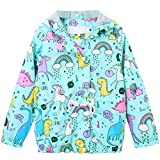Kids Girls Floral Print Lightweight Hooded Hoodie Jacket for Toddlers and Little Girls, Light Blue, US 4-5 Years (4T-5T)=Tag 120