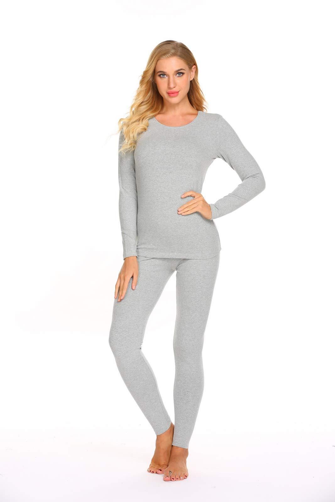 Ekouaer Thermal Underwear Women's Cotton Long Johns Set Scoop Neck Top & Bottom Pajama Winter Base Layering Set, Grey, Large