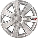 AUTOSTYLE 14'' Juego de 4 Tapacubos VR 14 Pulgadas Plateado/Look Carbono/Logo, Set de 4