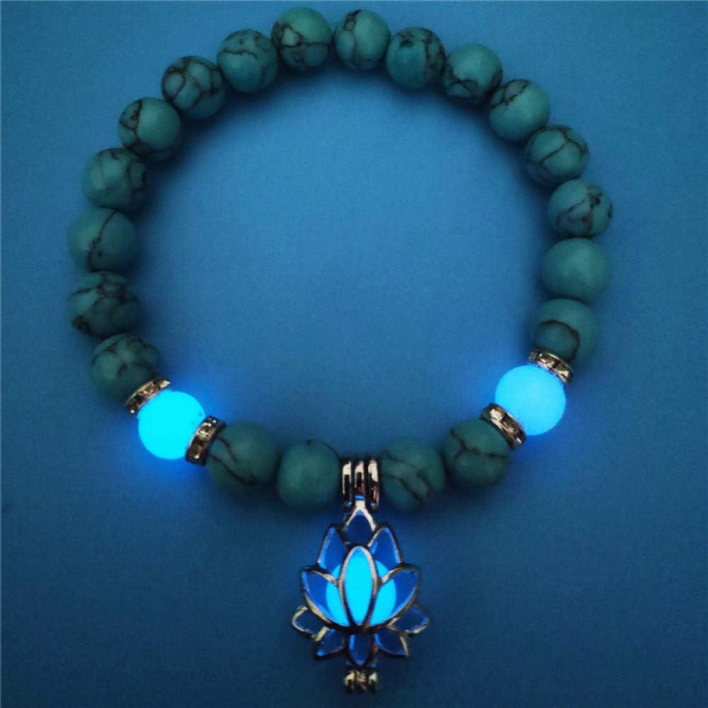 ZMMZYY Pulsera Piedra,Moda Azul Luminosa Piedra volcánica Natural Lotus Pulseras Hombre Mujer resplandecientes Joyas Accesorio clásico