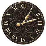 SKB family Artisan Outdoor Wall Clock, 16'' x 16'' x 1.25'' x 6.5 lbs, Black/Gold