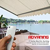 ADVANING 13'X10' Motorized Patio Retractable Awning | Classic Series | Premium Quality, 100% Acrylic UV Sun Shade Awning, Color: Natural Beige Stripes, EA1310-A332H