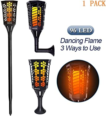 Cinoton Conjunto de 1 antorchas LED solares de jardín 96 LED Parpadeo Lámpara de baile para al aire libre patio,fiesta,paisaje.Impermeable: Amazon.es: Iluminación