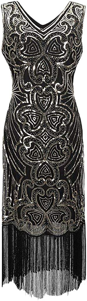 Moonuy Women 1920S Art Deco Sequin Paisley Flapper Tassel Glam Party Cocktail Dresses with Sleeveless Party Dresses