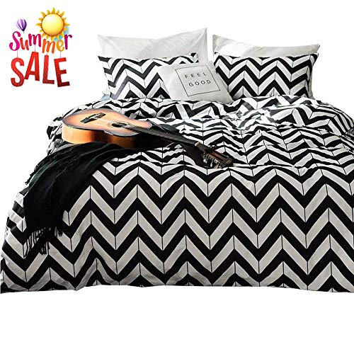 - White Black Chevron Bedding Set Queen Cotton Geometric Striped Duvet Cover Set Full Hotel Luxury Men Boys Bed Comforter Cover Set 3 Piece Cotton Bedding Collection Full Queen Bed Set