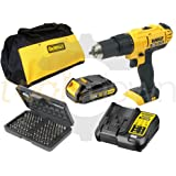 Dewalt 18v XR Cordless Lithium Combi Drill & Driver, With Hammer Action Facility Complete With Lithium Battery, Fast Charger, Canvas Carry Bag & 100 Piece Screwdriver Bit Set
