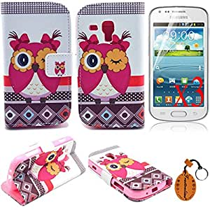 Traitonline 5IN1 Protective Skin PU Leather Wallet Case For Samsung Galaxy S Duos S7562 Cover Shell Pouch With Credit Card Slots + 3*Screen Protector + Keychain