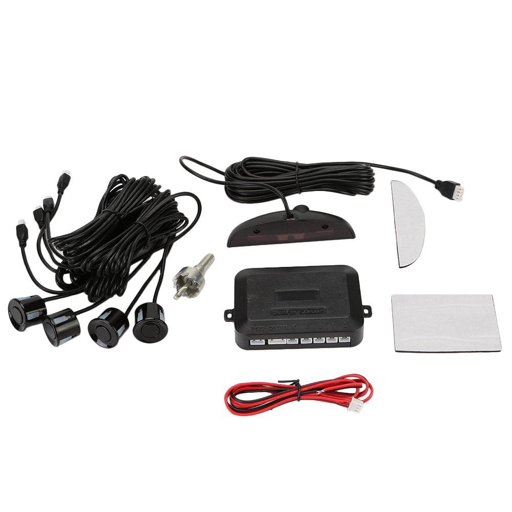Tkoofn Auto inversione di sostegno Sensore Di Parcheggio Kit 4 sensori radar con display Led e Buzzer Bianco M04003-01