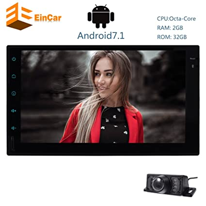 Android 7.1 Car Stereo with Free Rear Camera - 7 Inch Capacitive Touch Screen GPS Navigation